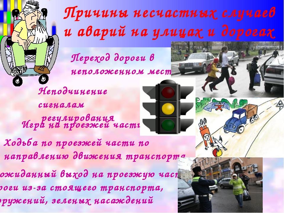 Переход дороги в неположенном месте Неподчинение сигналам регулирования Неожи...