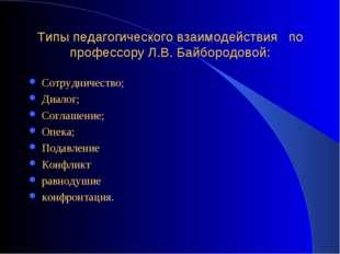 Типы педагогического взаимодействия по профессору Л.В. Байбородовой: Сотрудни