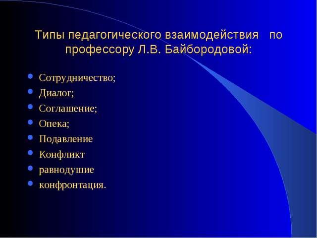 Типы педагогического взаимодействия по профессору Л.В. Байбородовой: Сотрудни...