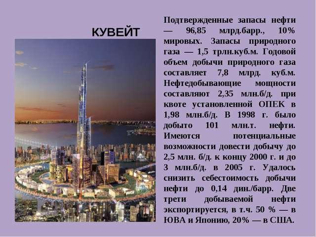 Подтвержденные запасы нефти — 96,85 млрд.барр., 10% мировых. Запасы природног...