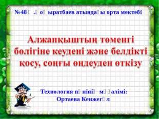 №48 Ә.Қоңыратбаев атындағы орта мектебі Технология пәнінің мұғалімі: Ортаева