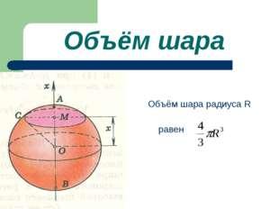 Объём шара Объём шара радиуса R равен