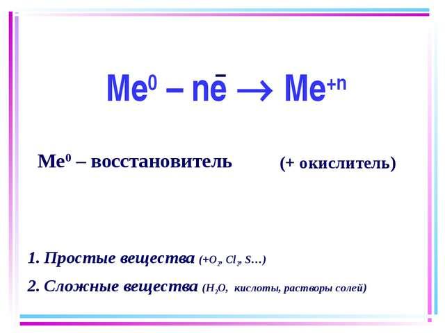 Ме0 – ne  Me+n Ме0 – восстановитель Простые вещества (+О2, Сl2, S…) Сложные...