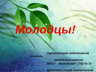 Презентацию подготовила учитель начальных классов МКОУ «Быковская СОШ № 3» Д