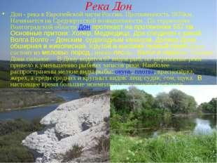 Река Дон Дон - река в Европейской части России. Протяженность 1870км. Начинае