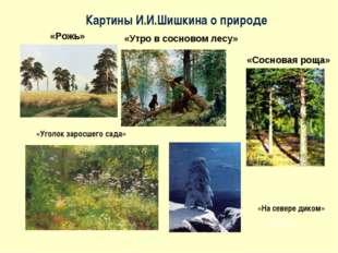 «Рожь» «Сосновая роща» «Утро в сосновом лесу» «Уголок заросшего сада» а Н»Н «
