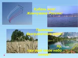 Кубань моя! Жемчужина России! Пшеницы безграничные поля! Ну, где ещё такое не