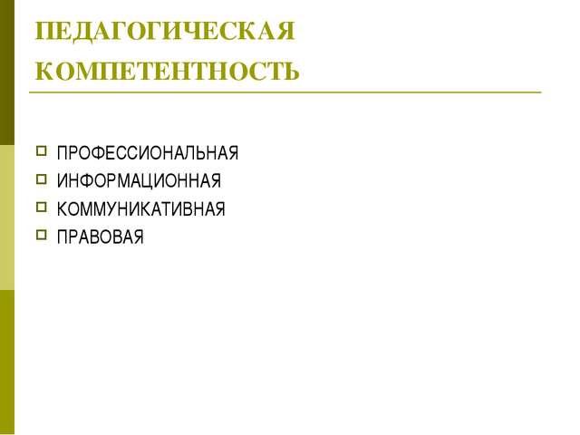 ПЕДАГОГИЧЕСКАЯ КОМПЕТЕНТНОСТЬ ПРОФЕССИОНАЛЬНАЯ ИНФОРМАЦИОННАЯ КОММУНИКАТИВНАЯ...