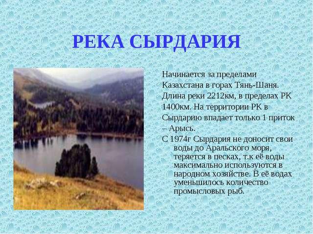 РЕКА СЫРДАРИЯ Начинается за пределами Казахстана в горах Тянь-Шаня. Длина рек...