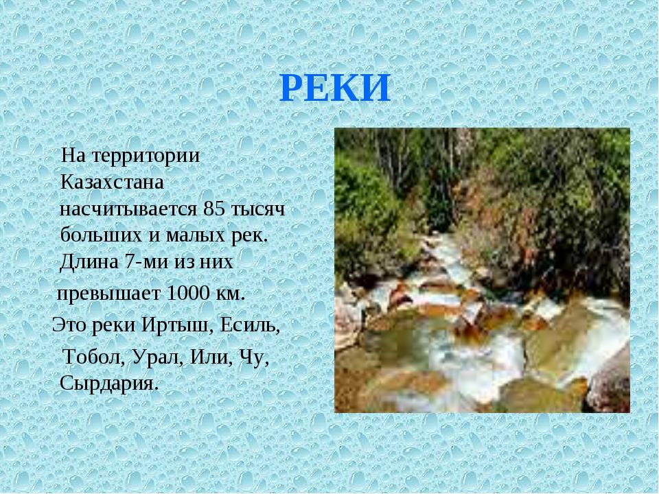 РЕКИ На территории Казахстана насчитывается 85 тысяч больших и малых рек. Дл...