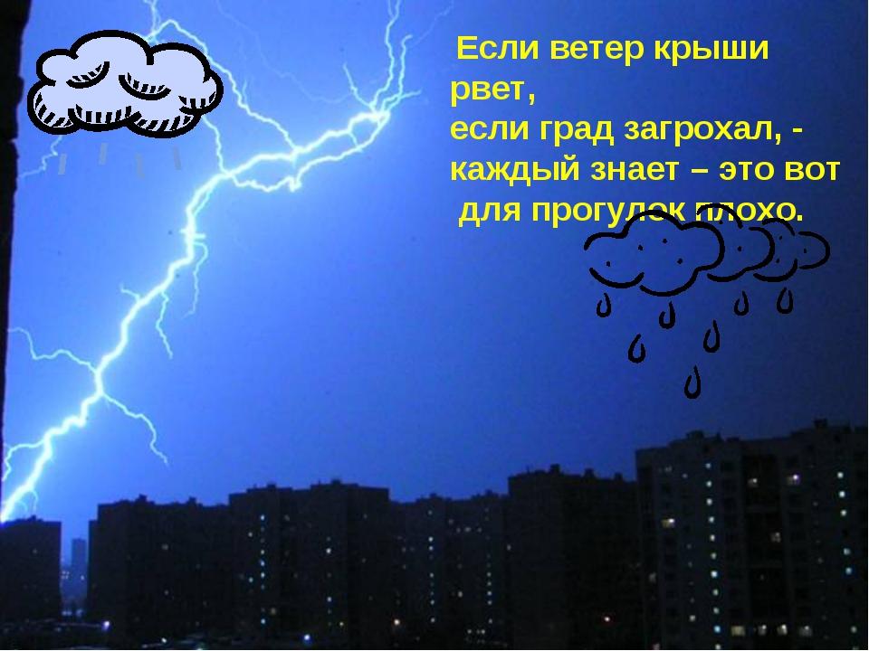 Если ветер крыши рвет, если град загрохал, - каждый знает – это вот для прог...