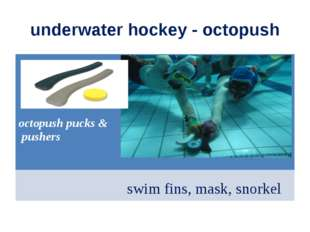 underwater hockey - octopush octopush pucks & pushers swim fins, mask, snorkel