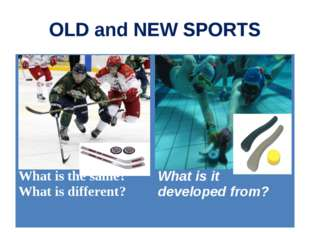 OLD and NEW SPORTS What is the same? What is different?	 What is it developed