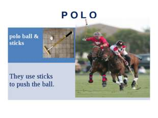 P O L O polo ball & sticks They use sticks to push the ball.