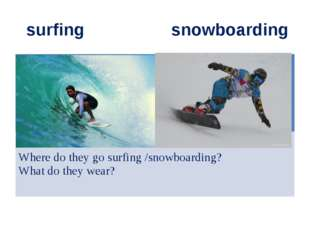 surfing snowboarding Where do they go surfing /snowboarding? What do they we