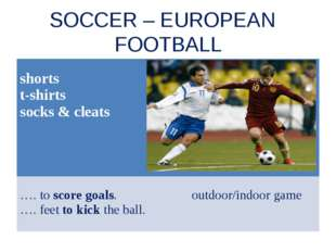 SOCCER – EUROPEAN FOOTBALL shorts t-shirts socks & cleats …. to score goals.