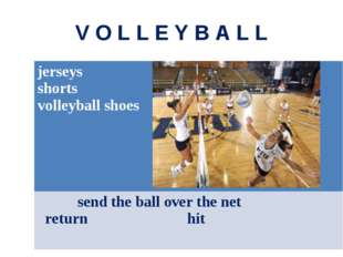 V O L L E Y B A L L jerseys shorts volleyball shoes send the ball over the ne