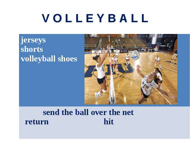 V O L L E Y B A L L jerseys shorts volleyball shoes send the ball over the ne...