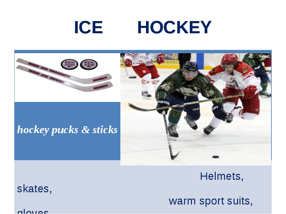 ICE HOCKEY hockey pucks & sticks Helmets, skates, warm sport suits, gloves