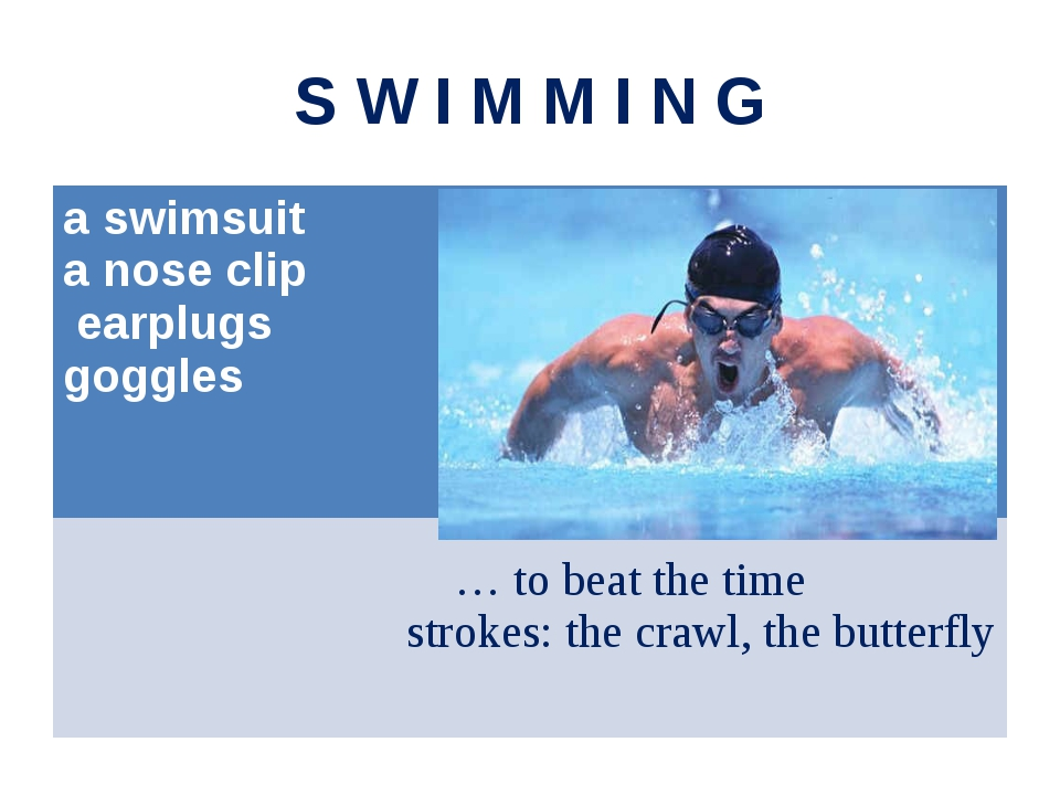 S W I M M I N G a swimsuit a nose clip earplugs goggles … to beat the time st...