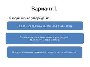 Вариант 1 Выбери верное утверждение: Погода – это сочетание температуры возду
