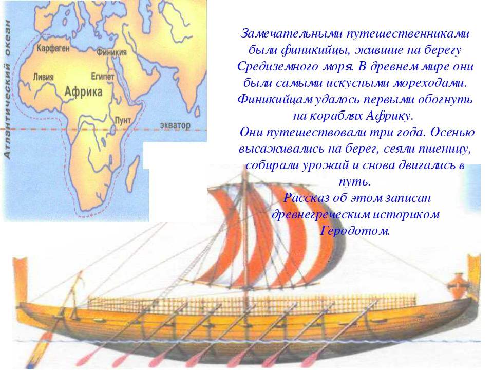 Замечательными путешественниками были финикийцы, жившие на берегу Средиземног...
