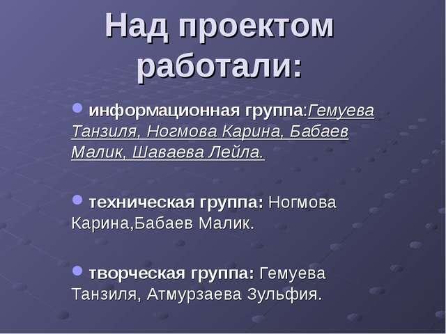 Над проектом работали: информационная группа:Гемуева Танзиля, Ногмова Карина,...