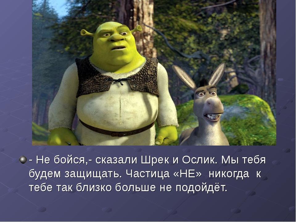 - Не бойся,- сказали Шрек и Ослик. Мы тебя будем защищать. Частица «НЕ» никог...