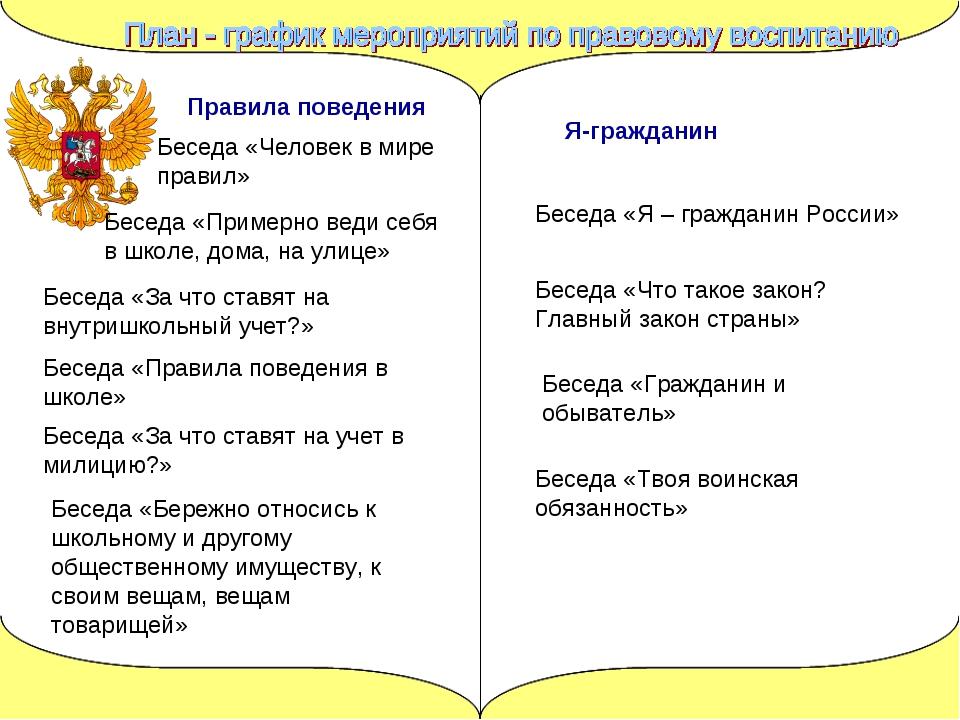 Правила поведения Беседа «Человек в мире правил» Беседа «Примерно веди себя в...