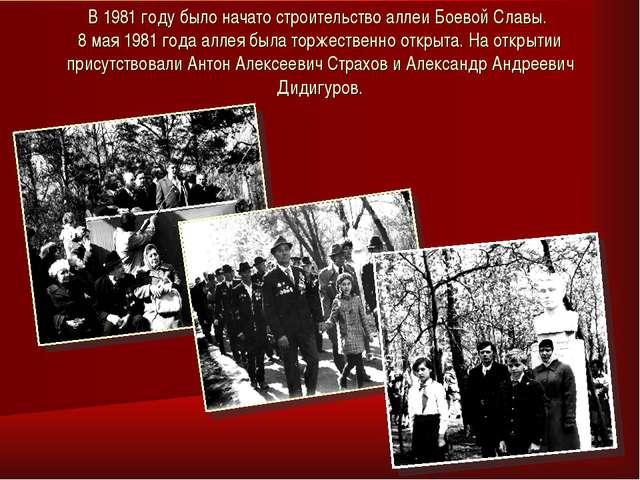 В 1981 году было начато строительство аллеи Боевой Славы. 8 мая 1981 года алл...