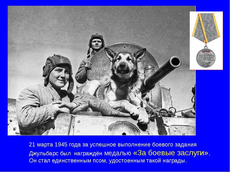 21 марта 1945 года за успешное выполнение боевого задания Джульбарс был награ...