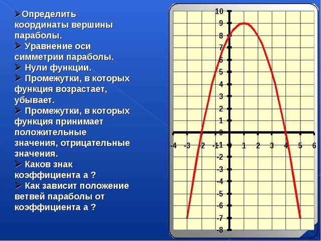 Определить координаты вершины параболы.  Уравнение оси симметрии параболы....