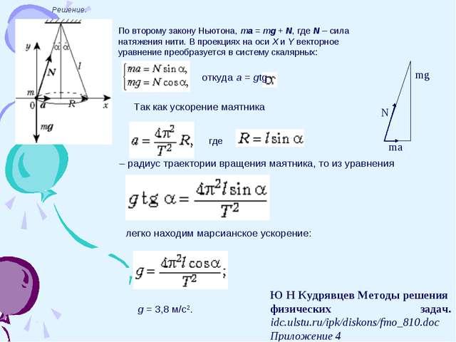 Решение. По второму закону Ньютона, ma=mg+N, где N – сила натяжения нити....