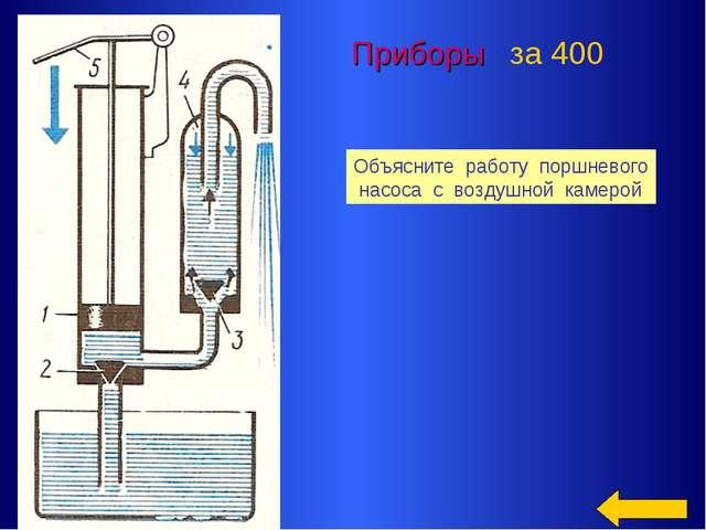 Приборы за 400 Объясните работу поршневого насоса с воздушной камерой