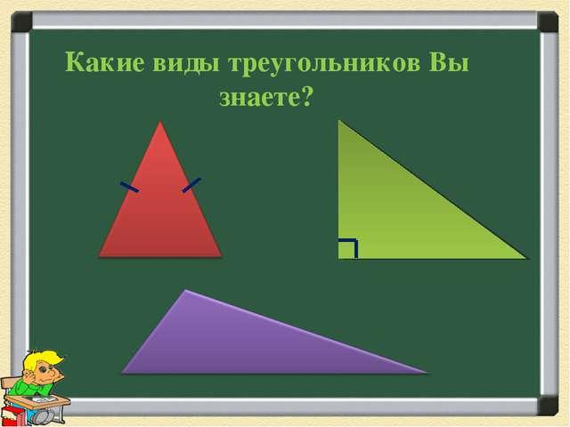 Какие виды треугольников Вы знаете?