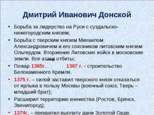 Дмитрий Иванович Донской Борьба за лидерство на Руси с суздальско-нижегородск
