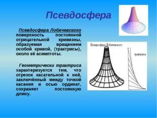 Псевдосфера Псевдосфера Лобачевского поверхность постоянной отрицательной кри