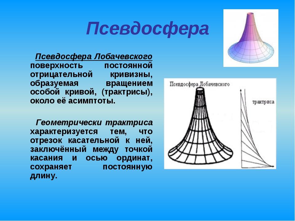 Псевдосфера Псевдосфера Лобачевского поверхность постоянной отрицательной кри...