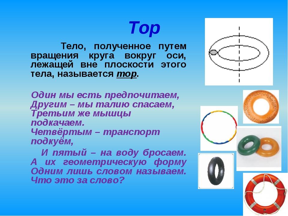 Тор Тело, полученное путем вращения круга вокруг оси, лежащей вне плоскости э...