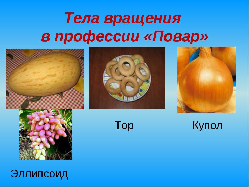 Тела вращения в профессии «Повар» Тор Купол Эллипсоид