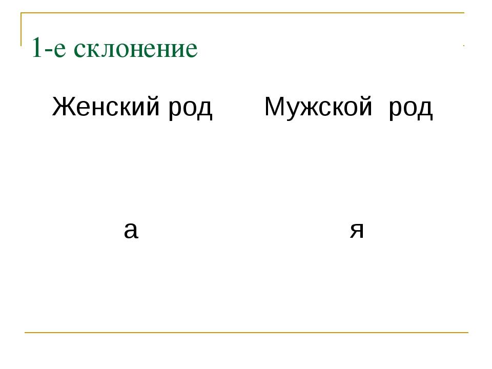 1-е склонение Женский род Мужской род а я