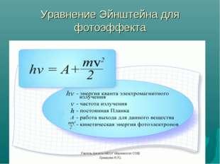 Уравнение Эйнштейна для фотоэффекта Учитель физики МБОУ Мирнинская СОШ Храмцо