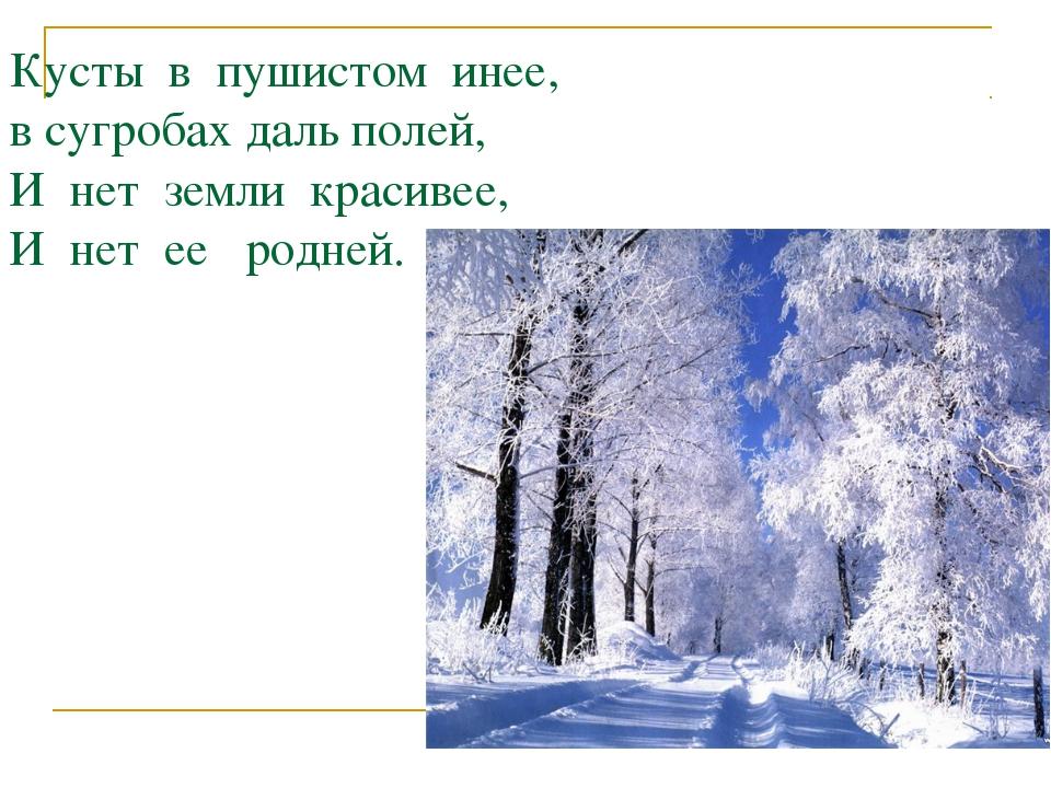 Кусты в пушистом инее, в сугробах даль полей, И нет земли красивее, И нет ее...
