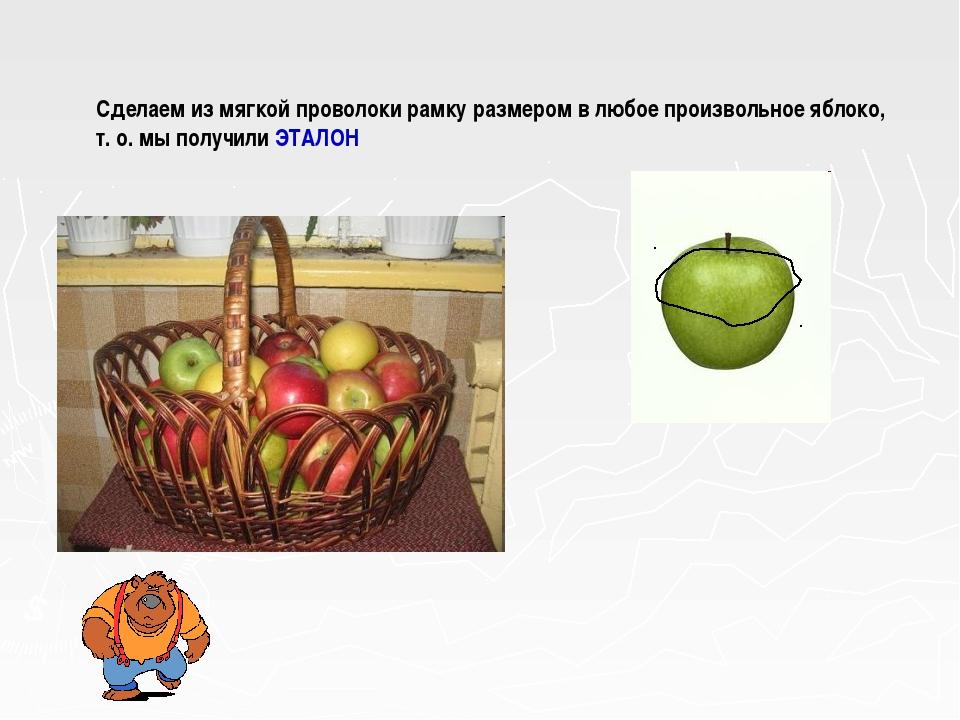 Сделаем из мягкой проволоки рамку размером в любое произвольное яблоко, т. о....