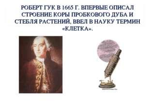 РОБЕРТ ГУК В 1665 Г. ВПЕРВЫЕ ОПИСАЛ СТРОЕНИЕ КОРЫ ПРОБКОВОГО ДУБА И СТЕБЛЯ РА