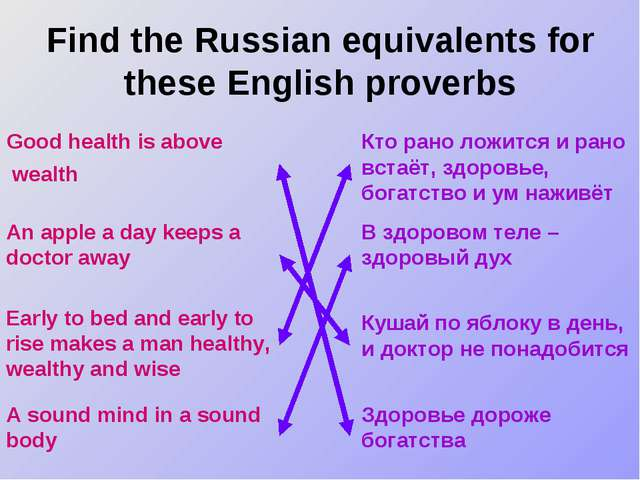 Find the Russian equivalents for these English proverbs Good health is above...