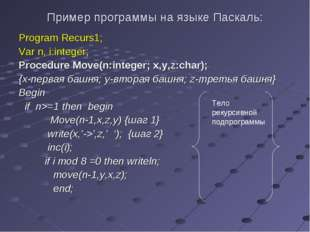 Пример программы на языке Паскаль: Program Recurs1; Var n, i:integer; Procedu