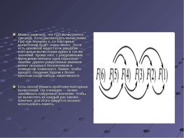 Можно заметить, что F(3) вычисляется три раза. Если рассмотреть вычисление F(...