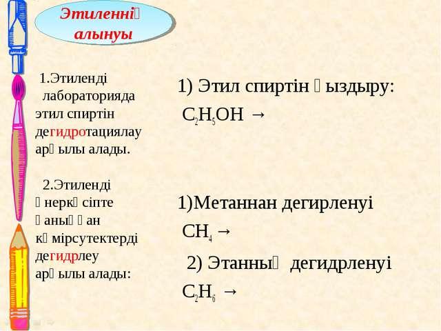 1) Этил спиртін қыздыру: С2Н5ОН → 1)Метаннан дегирленуі СН4 → 2) Этанның дег...