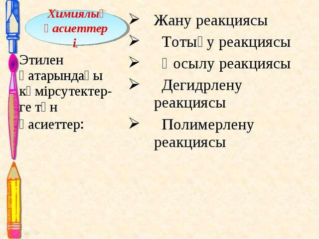 Жану реакциясы Тотығу реакциясы Қосылу реакциясы Дегидрлену реакциясы Полимер...